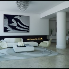 1 Black And White Lounge Dining Room 665x364  Black & White Interiors  Wallpaper 6