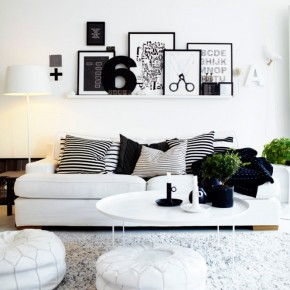 10 Black And White Living Room Shelving 665x887  Black & White Interiors  Pict  14