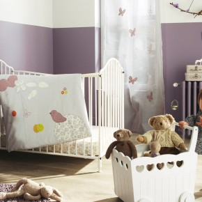 11 Fantastic Baby Nursery Design Ideas by Vertbaudet Purple White Curtain