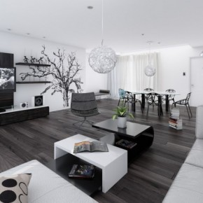 14 Black And White Living Dining Room 665x443  Black & White Interiors  Pict  1