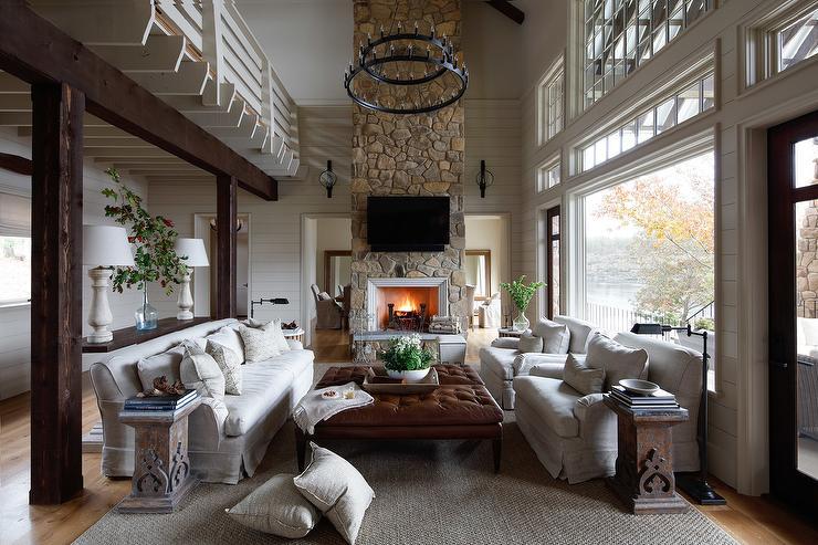 2 Story Country Living Room Fireplace Interior Design Center Inspiration