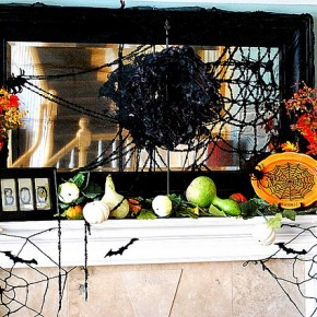 50 Awesome Halloween Decorating Ideas Fire Place with Cobwebs Fruit