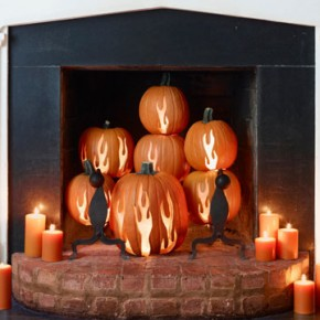 50 Awesome Halloween Decorating Ideas Fireplace Pumpkins Candle Light