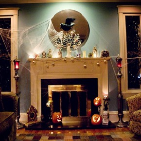 50 Awesome Halloween Decorating Ideas Fireplace Backlight Pumpkins
