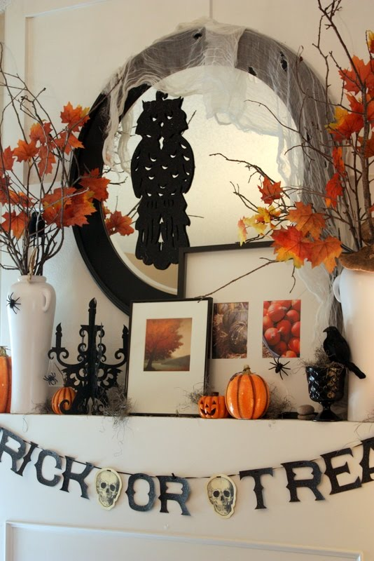 50 Awesome Halloween Decorating Ideas White Fireplace With