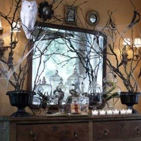 50 Awesome Halloween Decorating Ideas Fireplace with Mirror and Twig