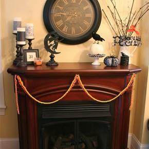 50 Awesome Halloween Decorating Ideas Wood Fireplace and big Wall Clock