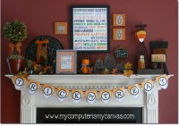 50 Awesome Halloween Decorating Ideas Fireplace Frame Pumpkins Flag