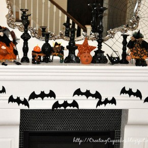 50 Awesome Halloween Decorating Ideas Fireplace Dark Bats Fly