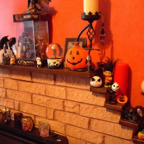 50 Awesome Halloween Decorating Ideas Full Pumpkins Orange Wall Fireplace