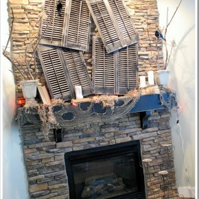 50 Awesome Halloween Decorating Ideas Sstone Fireplace with Wood Decor