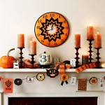 50 Awesome Halloween Decorating Ideas Fireplace Wall Clock and Orange Candle