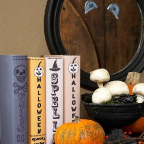 50 Awesome Halloween Decorating Ideas Fireplace cute Pumpkins and Old Books