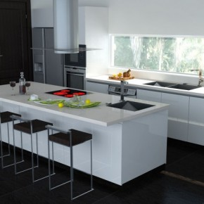 7 Black And White Kitchen Island 665x444  Black & White Interiors  Image  15