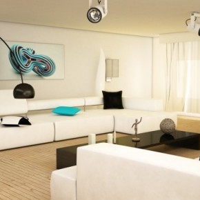8 Black And White Aqua Living Room 665x374  Black & White Interiors Photo  12