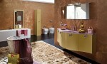 Amazing Bathroom Ideas Brown Cabinet Big Mirror and Carpet Classic Retro
