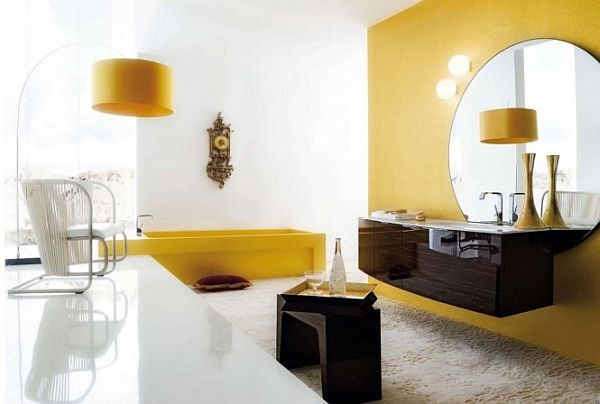 Amazing bathroom ideas yellow and brown cabinet interior for Brown and yellow bathroom ideas