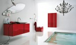 Amazing Bathroom Ideas Red Cabinet White Wall