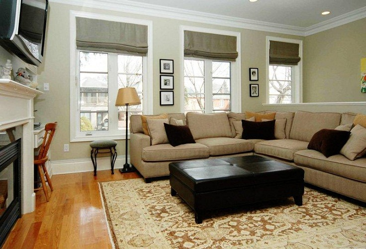 Amazing wood flooring black coffee table grey sofa small for How decorate family room