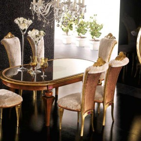 Black Floor With Gold Chair Glass Table - Elegant Luxury Dining Room Set by AltaModa