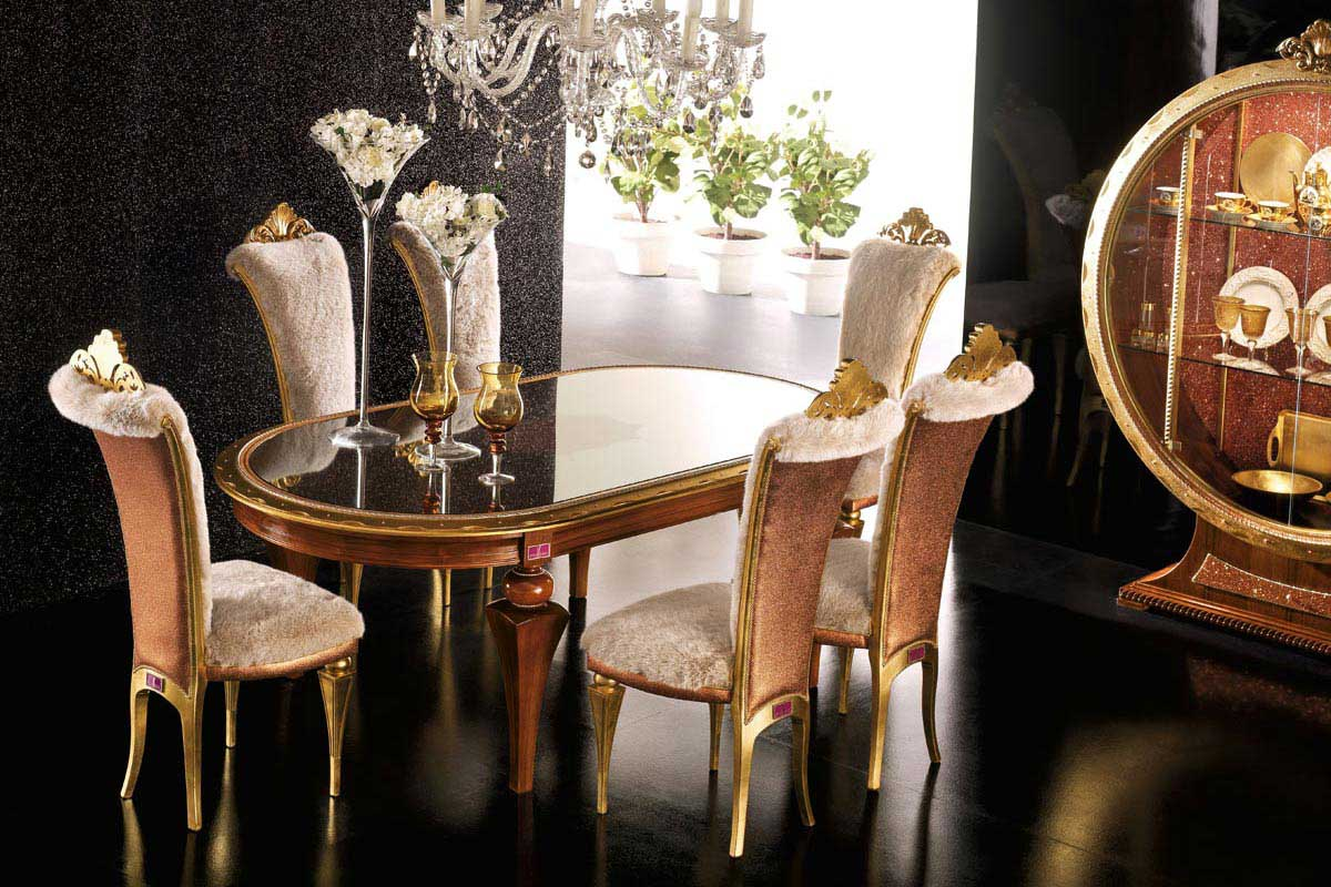 black floor with gold chair glass table elegant luxury dining room
