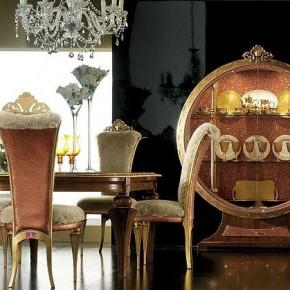 Elegant Luxury Dining Room Set by AltaModa Black Wall Mix Gold ...
