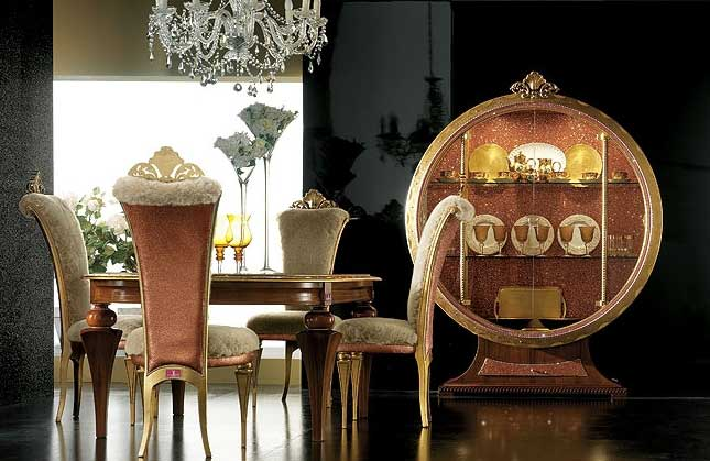 Luxury Color Custom Dining Room Furniture Black Wall Mix Gold Chair And Table In Cabinet Lighting Elegant Luxury Dini