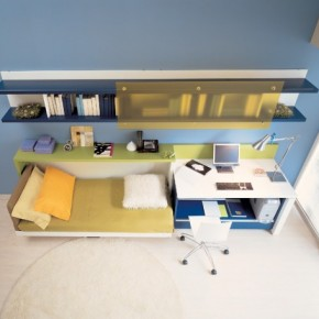 Blue Bright Teen Rooms with Small Space