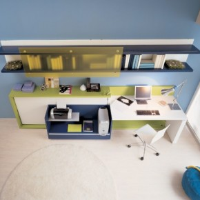 Blue Warm Teen Rooms with Small Space