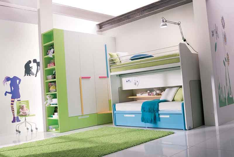 blue and green with bunk bed teen girls bedroom interior. Black Bedroom Furniture Sets. Home Design Ideas