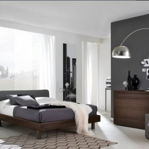 Bright Beautiful Modern Style Bedroom Designs Dark Grey and White Wall