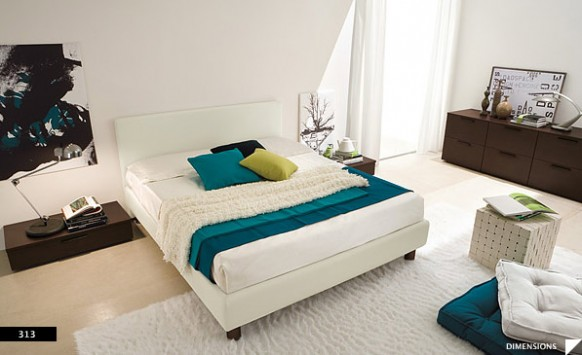 Bright beautiful modern style bedroom designs white bed for New style bed design