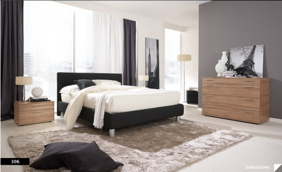 Bright beautiful modern style bedroom designs white black for Black and grey bedroom ideas