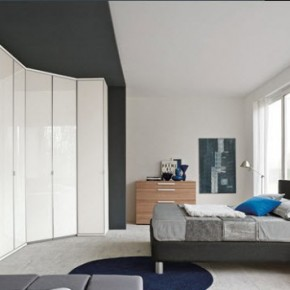 Bright Beautiful Modern Style Bedroom Designs White Combination Grey and Blue Carpet