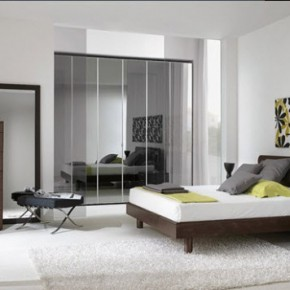 Bright Beautiful Modern Style Bedroom Designs White Floral Wall Big Glass