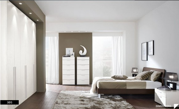 Bright beautiful modern style bedroom designs white grey for Beautiful contemporary bedrooms