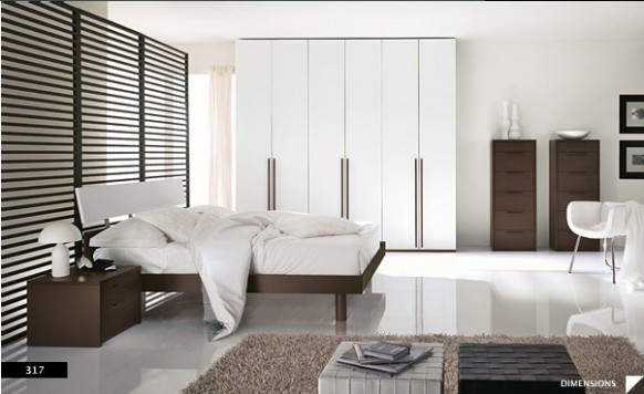 Bright Beautiful Modern Style Bedroom Designs White Wall Big Cupboard