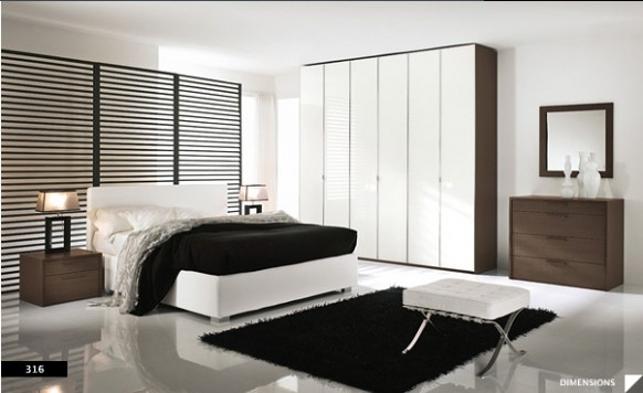 Bright beautiful modern style bedroom designs white wall for Black and white modern bedroom ideas