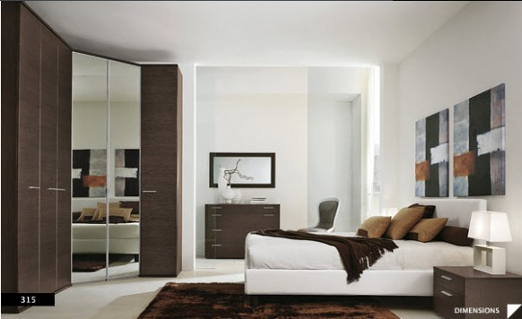 Bright Beautiful Modern Style Bedroom Designs White Wall Blended ...