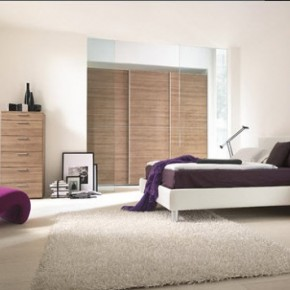 Bright Beautiful Modern Style Bedroom Designs White and Purple Chair