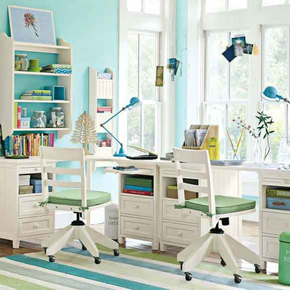 Beautiful Bright Kids Study Room Design