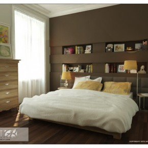 Brown Bookcase with Wood Floor - Amazing Colorful Bedrooms