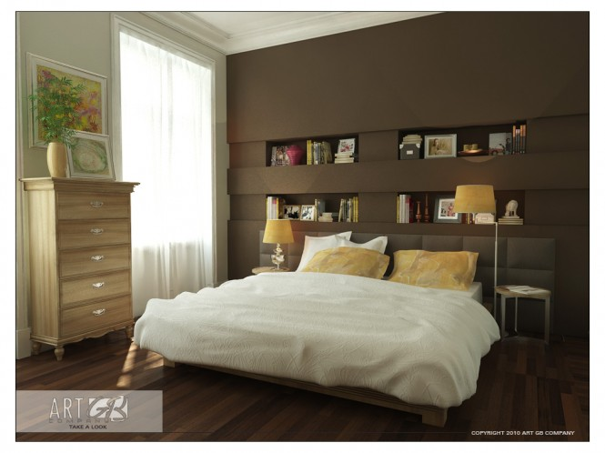 Brown bookcase with wood floor amazing colorful bedrooms for Bedroom bookshelves