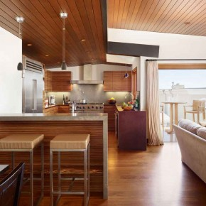 Careful Space Planning Tropical House Bar With a Kitchen View