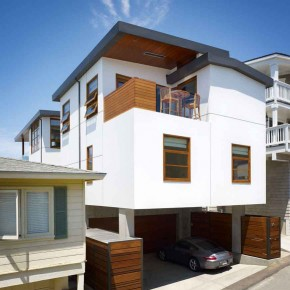 Careful Space Planning Tropical House Garage View