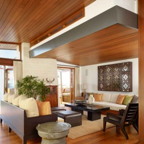 Careful Space Planning Tropical House Living Room View