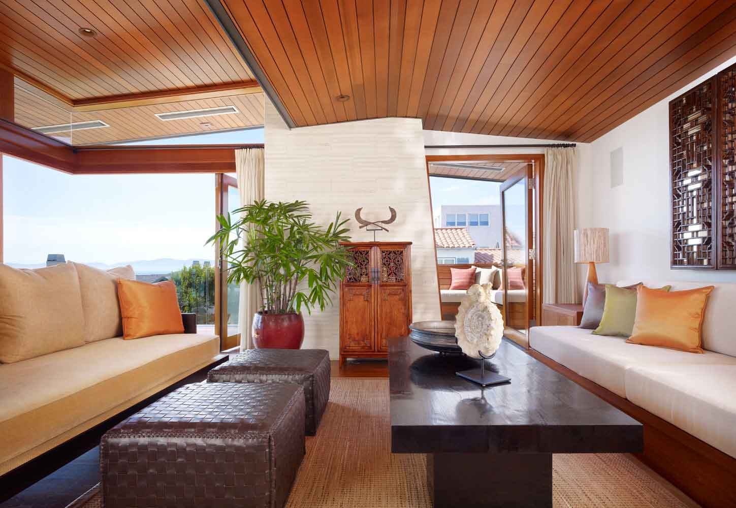tropical interior living room decorating also hardwood ceiling style | Careful Space Planning Tropical House Warm Living Room ...