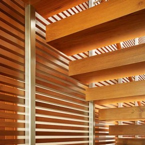 Careful Space Planning Tropical House Wooden Stairs