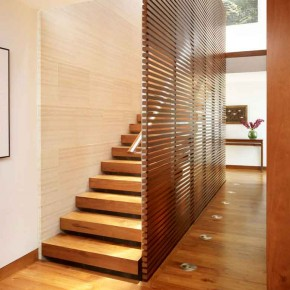 Careful Space Planning Tropical House Wooden Stairs Decor