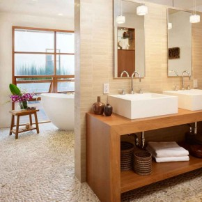 Careful Space Planning Tropical House in Double Sink View